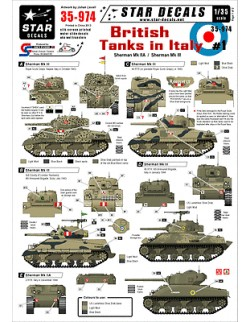 Star Decals, 35-974, Decal for British Tanks in Italy 1, 1:35