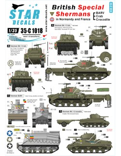 Star Decals 35-C1018, Decals for British Special Shermans - BARV&OTHERS, 1:35