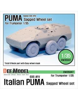 DEF.MODEL,Italian AFV PUMA 6X6 Sagged Wheel set (for Trumpeter 1/35), DW35047, SCALE 1/35