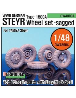 DEF.MODEL, WW2 German Steyr Type 1500A Sagged Wheel set (Tamiya 1/48), DW48004, SCALE 1/48