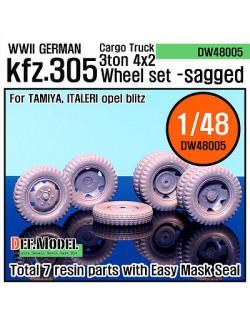 DEF.MODEL, WW2 German Cargo Truck Kfz.305 Sagged Wheel set (Tamiya 1/48),DW48005, SCALE 1/48