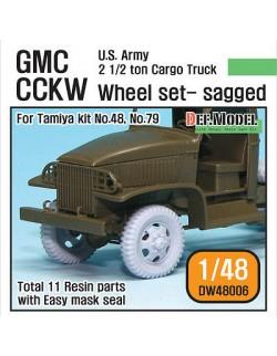 DEF.MODEL, WW2 U.S GMC CCKW Cargo Truck Sagged Wheel set (Tamiya 1/48), DW48006, SCALE 1/48