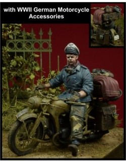 D-Day, 35082,1:35,'Herman Goering' Division Officer Motorcycle Rider+Accessories