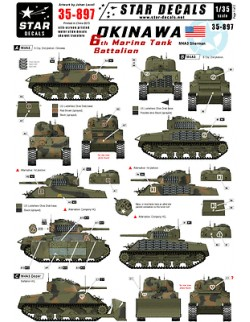 Star Decals 35-897, Decals for 6th Marine Tank Battalion. M4A3 Sherman. Okinawa