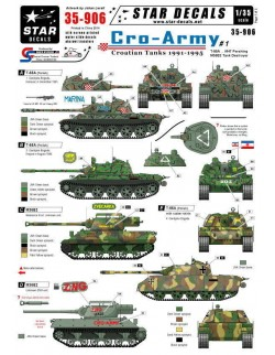 Star Decals 35-906, Decals for T-55A/M47 Pershing/M36B2. Cro-Army 1.