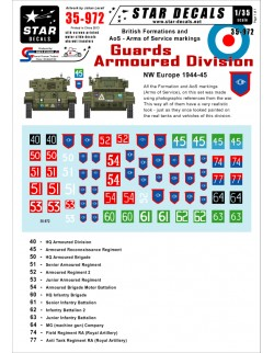 Star Decals 35-972, Decals for British Guards Armoured Division 1944-45