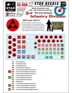 Star Decals 35-966, Decals for British 3rd Infantry Division NW Europe, 1:35