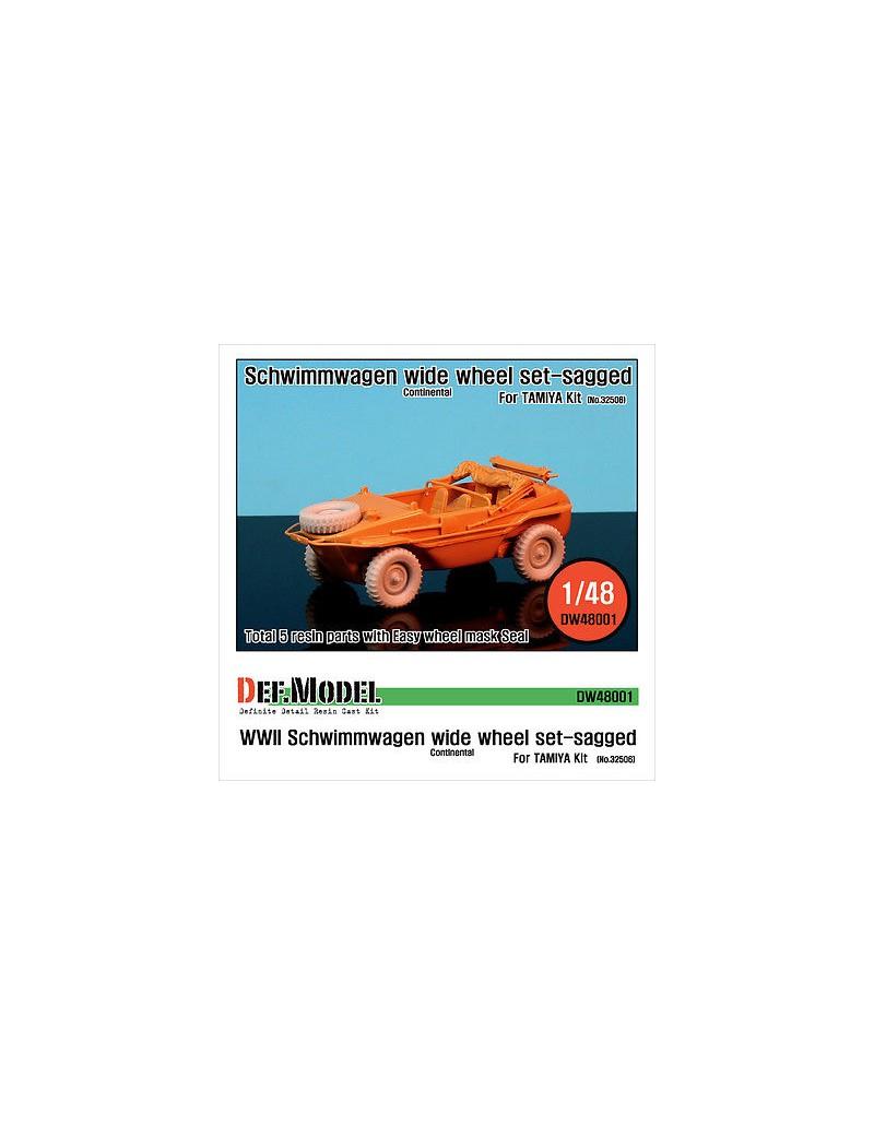 DEF MODEL, Schwimmwagen wide wheel set (Sagged) for Tamiya