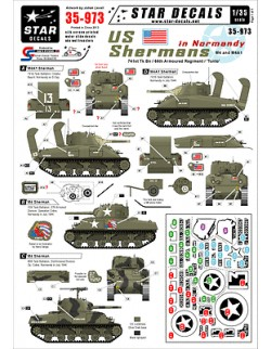 Star Decals, 35-973, Decal for US Shermans in Normandy, 1:35
