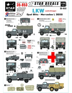 Star Decals 35-853, Decals for LKW-Lastkraftwagen-Opel Blitz and Mercedes 3000