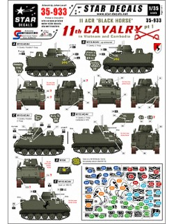 Star Decals, 35-933, Decal for 11th Cavalry in Vietnam/Cambodia 1. M113 ACAV