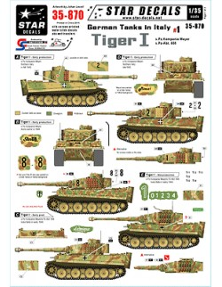 Star Decals - German Tanks in Italy 1 - Tiger I. ,scale 1:35, 35-870
