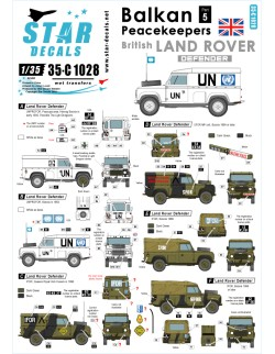 Star Decals 35-C1028, Decals for Balkan Peacekeepers 5.British Land Rover, 1:35