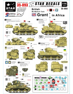 Star Decals 35-893, British M3 Grant in Africa, 1:35