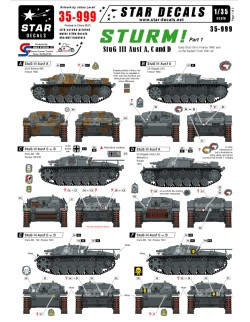 Star Decals  35-999 STURM! 1. StuG III Ausf A, C and D Early StuG IIIs, 1:35