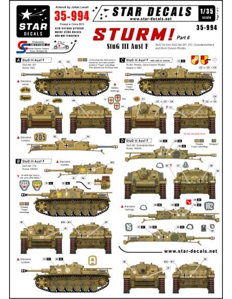 StuG III Ausf F Long barreled StuG IIIs 1:35 Star Decals  35-994 STURM #5