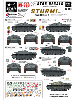 Star Decals, 35-993 STURM! 7. StuG III Ausf E StuG IIIs in 1941-42 , 1:35