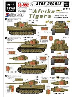 Star Decals, 35-992 Afrika Tigers 1. Initial production Tiger I in Africa, 1:35