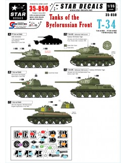 Star Decals 35-850, Tanks of the Byelorussian Front. T-34 m/43,scale 1:35,