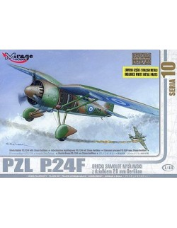 PZL P.24F (WITH 20MM GUNS) GREEK AIR FORCE, MIRAGE HOBBY 48107, SCALE 1:48