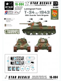 Star Decals 16-004, Decals for T-34m/1943 Leningrad Front, 30th Guards , 1:16
