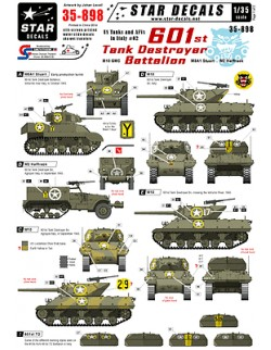 Star Decals 35-898.Decals for 601st Tank Destroyer Bn in Italy.