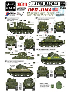 Star Decals 35-911, Decals for Sherman Gun and Flame tanks. Iwo Jima, 1:35