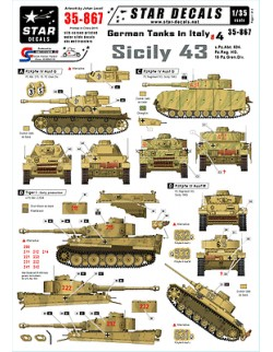 Star Decals - German Tanks in Italy 4 - Sicily 43,scale 1:35, 35-867