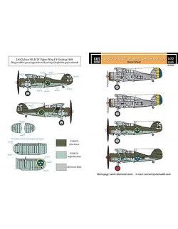 S.B.S Models, 1:72, D72005 Decals - Gloster Gladiator in Swedish service Vol.I.