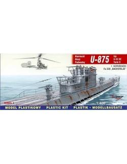 U-875 typ U-IX D2 Turm II + Fa-330 German Submarine, 1:400, MIRAGE HOBBY 40043