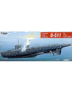 U-511 typ U-IX B Turm I + WG42 German Submarine, 1:400, MIRAGE HOBBY 40042