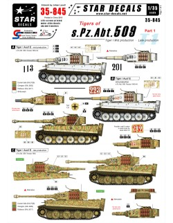 Star Decals 35-845, Decal - Tigers of s.Pz.Abt. 509  1, 1:35