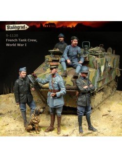 STALINGRAD 1:35, FRENCH TANK CREW BIG SET (5 FIGURES), WWI, S-1120