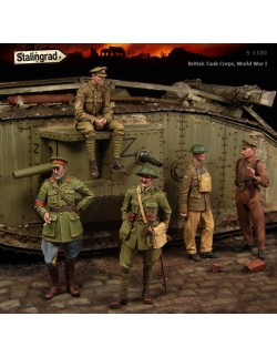 STALINGRAD 1:35, BRITISH TANK CORPS,  BIG SET (5 FIGURES), WWI, S-1100