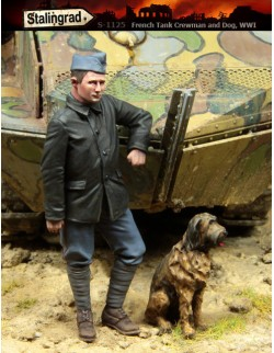 STALINGRAD 1:35, FRENCH TANK CREWMAN AND DOG, WWI, S-1125