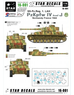 Star Decals 16-001, Decals for PzKpfw IV Ausf J-SS-Pz-Reg,, SCALE 1:16