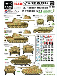 Star Decals 35-848,Decals for 2.Panzer Div. in France 44-PzKpfw IV Ausf H ,1:35