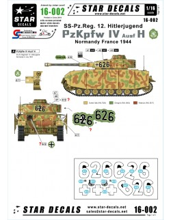 Star Decals 16-002,Decals for PzKpfw IV Ausf H - SS-Pz-Reg.12 Hitlerjugend,  SCALE 1:16