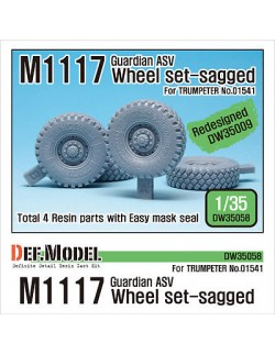 DEF.MODEL, US M1117 Guardian ASV Sagged Wheel set (Trumpeter) Retooled, DW35058, SCALE 1/35