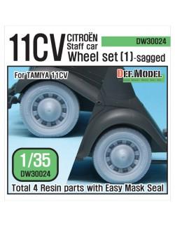 DEF.MODEL, 11CV Staff car Sagged Wheel set (1) (for Tamiya), DW30024, 1:35