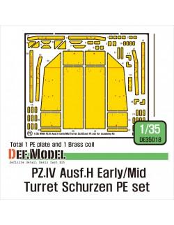 DEF.MODEL, DE35018, German Pz.IV Ausf.H Early/Mid Turret Schurzen PE set, 1:35