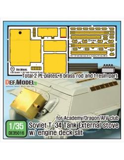 DEF.MODEL, DE35016, Soviet T-34 External stove w/ Engine deck slit set , 1:35