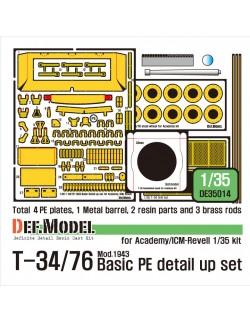 DEF.MODEL, DE35014, T-34/76 Mod.1943 Basic PE detail up set, 1:35