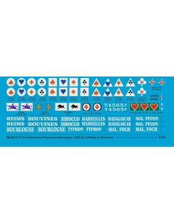 Peddinghaus 1/35, 0773, Decals for French tank markings 1939-40 No 2