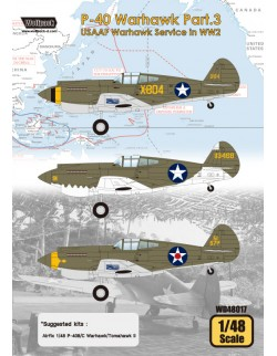 Wolfpack WD48017, P-40 Warhawk Part.3 - USAAF Warhawk (DECALS SET), SCALE 1/48