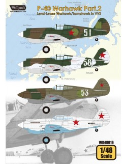 Wolfpack WD48016,P-40 Warhawk Part.2 - Lend-Lease Warha (DECALS SET), SCALE 1/48
