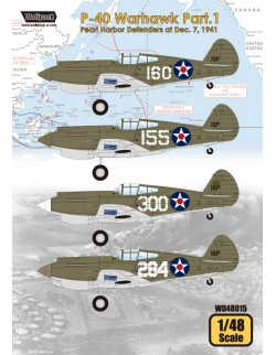 Wolfpack WD48015,P-40 Warhawk Part.1 - Pearl Harbor Def (DECALS SET), SCALE 1/48