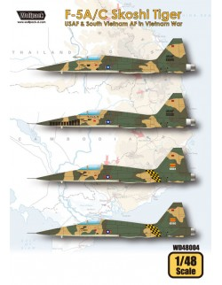 Wolfpack WD48004,F-5A/C Skoshi Tiger - USAF & South Viet(DECALS SET), SCALE 1/48
