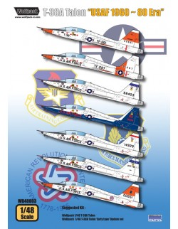 "Wolfpack WD48003, T-38A Talon ""USAF 1960 ~ 80 Era"" (DECALS SET), SCALE 1/48"