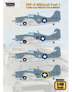 Wolfpack WD48001, F4F-4 Wildcat Part.1 'Carrier Base Wildcat (DECALS),SCALE 1/48